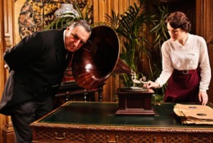 Carson and Lady Mary listen to the gramophone