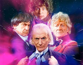 The first four Doctors - Hartnell (1), Troughton(2), Baker (4), and Pertwee (3)